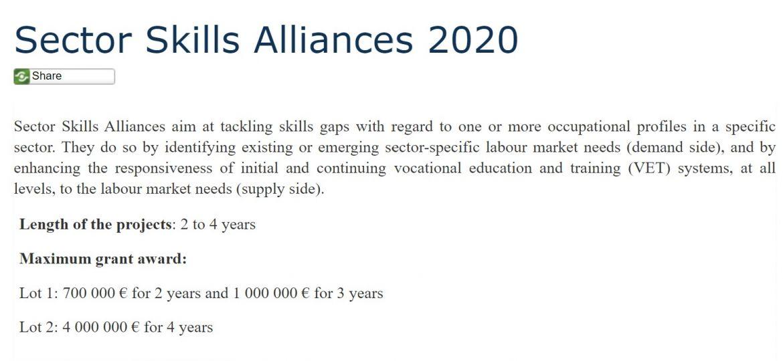 Sector Skills Alliances 2020 website